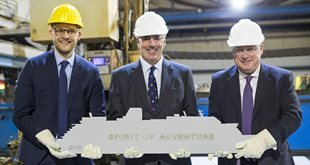 Steel cutting ceremony for new ship Spirit of Adventure